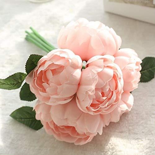 Simulation des bouquets de fleurs riches Pivoine Fleur artificielle Hall Home Décoration de mariage Blooming et riche : Blanc