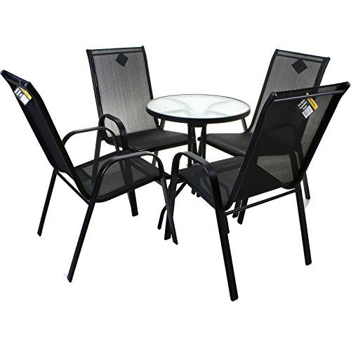 5 Piece Black Bistro Set Outdoor Garden Furniture Glass Table & High Back Chairs