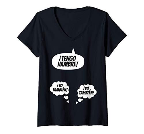 Mujer Anunciar embarazo divertido bebé está llegando Mellizos Mamá Camiseta Cuello V