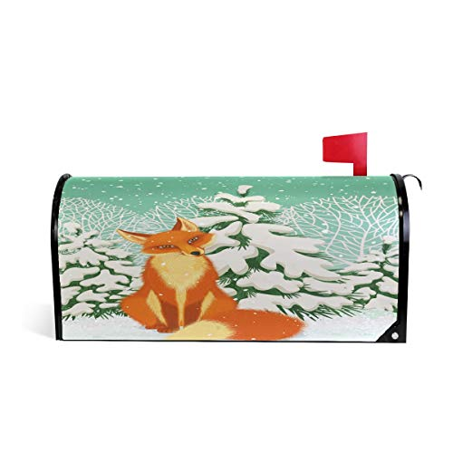 Wamika Red Fox en Hiver Forêt Bienvenue magnétique Boîte aux Lettres Boîte aux Lettres Coque stratifiées, Animal Snow Arbre Taille Standard Makover Mailwrap Garden Home Decor 64.7x52.8cm Multicolore