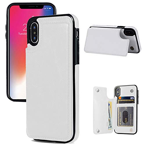 JOYAKI iPhone X/XS Wallet Case, iPhone X/XS Case with Card Holder, iPhone X/XS Slim Leather Case with Credit Card Holder Protective Case with a Free Screen Protector for iPhone X/XS 5.8 inch-White