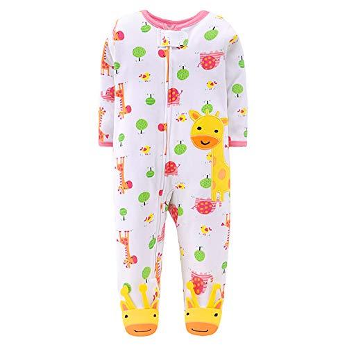 JinBei Bebe Pelele Niña Mameluco Pijamas Footies Algodon Blanco Pijama Recien Nacido Mamelucos Manga Larga Mono Caricatura Trajes Envuelva el pie Cremallera Patrón de Jirafa Amarilla 0-3 Meses