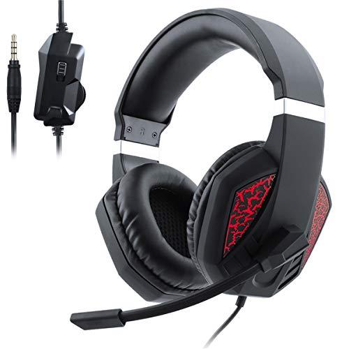 SOONHUA Stereo Headset Upgraded Second Generation Headset Gaming Headset Stereo Surround Headset mit Rauschunterdrückung mit Mikrofon Lichteffekt für PS4 Xbox One PC Computer