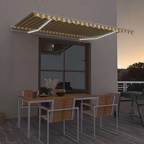 Tidyard Toldo Manual Retráctil con LED Plegable Manivela Exterior Protección Jardín Terraza...