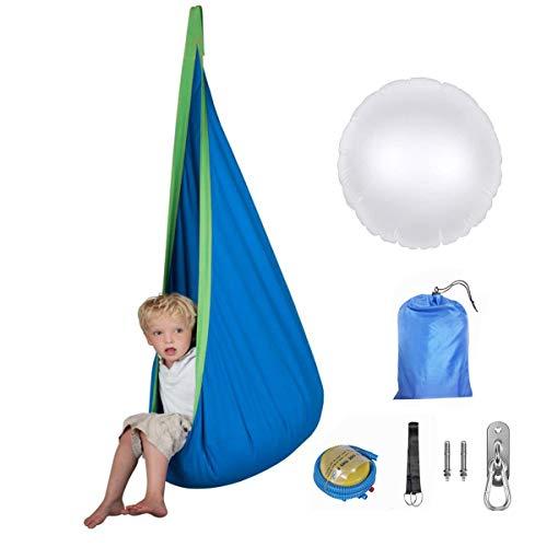 XZHFC Columpio saco de dormir niños Pod hamaca niños interior al aire libre silla colgante nido de algodón colgante con cojín inflable