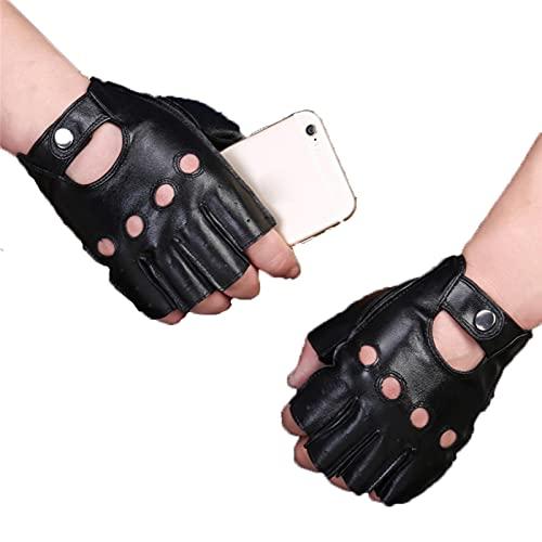 Guantes de piel de oveja retro de cuero genuino sin dedos guantes de conducción ciclismo motocicleta sin forro medio dedo guantes