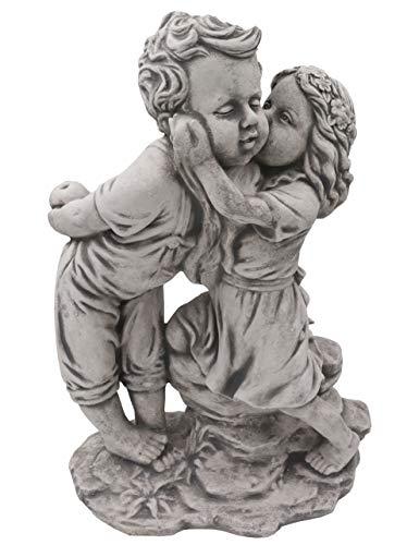 gartendekoparadies.de Massive Steinfigur Junge und Mädchen aus Steinguss frostfest