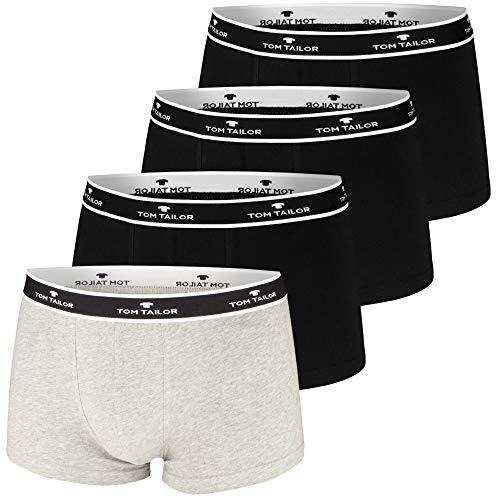TOM TAILOR Boxershorts, 4 Stück, sportlich, bequem, schlicht, formstabil, weich (L / (6), 3 x schwarz | 1 x grau Melange)