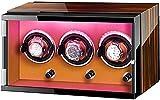 PLMOKN DFJU Reloj Caja de Winder para 3 Reloj automático con Luces de Colores Dual Fuente de alimentación Ajustable Almohadas Ajustables Motor silencioso Upscale/A/Brown