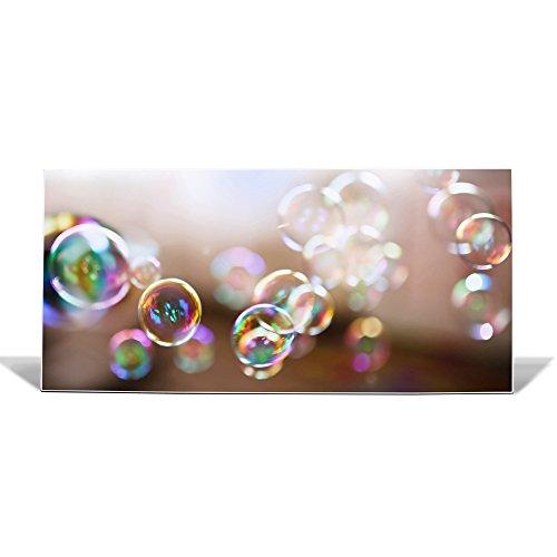 banjado Design Magnettafel weiß | Wandtafel magnetisch 37x78cm groß | Metall Pinnwand | Memoboard mit Magneten und Montageset | Motiv Seifenblasen