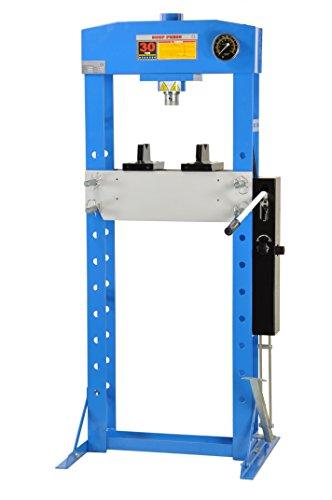 Pro-Lift-Montagetechnik 30t Werkstattpresse, manuell und Fußpedal, Rahmen geschweißt, blau, 00920
