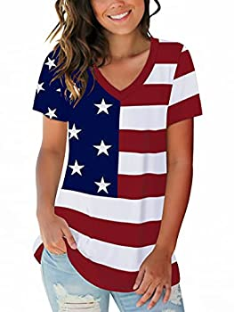 Womens Patriotic American Flag T-Shirts Print Rolled Sleeve Summer Top