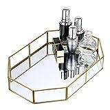 SUMTREE - Vassoio per cosmetici, vassoio da portata per gioielli, profumo, vaso per fiori dorati in metallo + vetro (ottagono, grande)