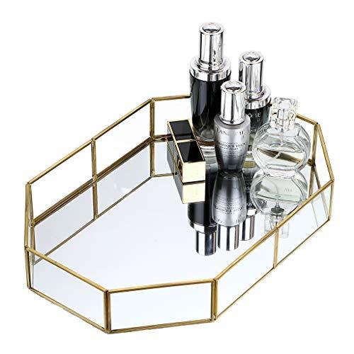 Hipiwe Gold Mirrored Makeup Tray Gold Metal Decorative Jewelry Tray Vanity Cosmetic Perfume Organizer for Dresser, Bathroom, Bedroom,Home Decor (Big)