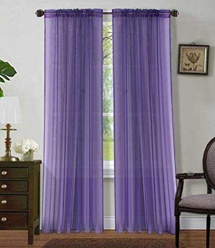 Sapphire Home 2 Panels Window Sheer Curtains 54' x 84' Inches (108' Total Width), Voile Panels for Bedroom Living Room, Rod Pocket, Decorative Curtains, Solid Sheer Curtains Purple