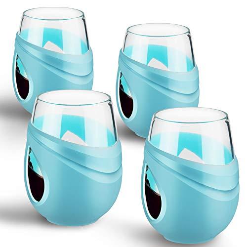 FCSDETAIL Borosilikat glas Weingläser mit Silikonhülle 500 ml, 4er Set Weinbecher für Rotwein, Weißwein, Kaffee und Wasser usw.