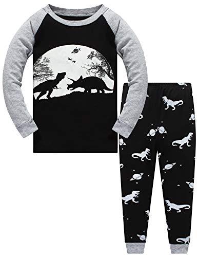 Jungen Zweiteiliger Schlafanzug Im Dunkeln leuchten Dinosaurier Langarm Pyjamas Kinder Schlafanzug Winter Nachtwäsche Weihnachten Pyjama Baby Junge Pyjama 128 (Dark Dinosaur-6128 7T)