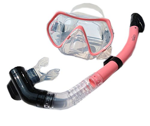 Silicone Diving Mask & Dry Snorkel Set for Women Pink Free Diving Kit