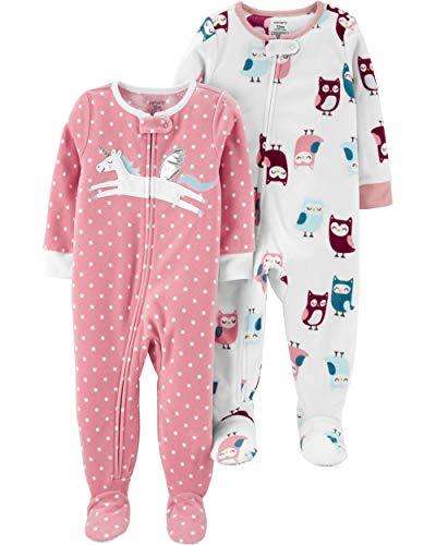 Carter's girls 2-pack Loose Fit Fleece Footed Pajamas Sleepers, Pink Pegasus/Owls, 4T US