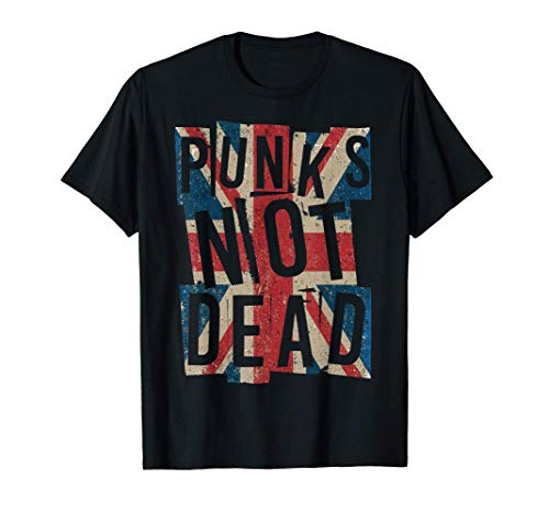 Punks Not Dead - Vintage - UK London Flag - Punk Is Not Dead Camiseta