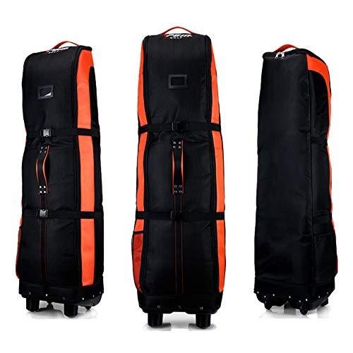 PGM Golf-Reisetasche mit Rädern, doppeltes Deck, dickes, wasserdichtes Nylon, mit Boden, schwarz / orange