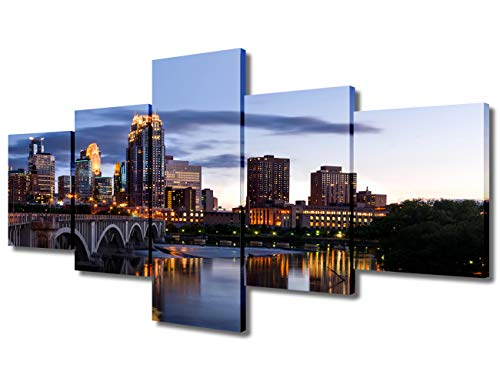 5 Piece Modern Colorful Cityscape Artwork City Skyline Wall Art Minneapolis Skyscrapers at Sunset Pictures on Canvas Print Painting Home Decoration Framed Art Work for Living Room(50'Wx24'H)