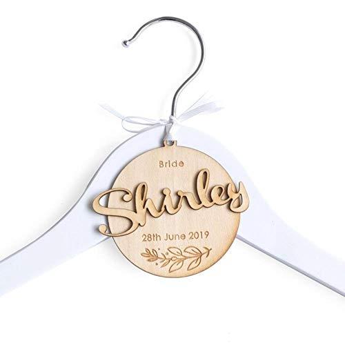 N/A personalizado percha de boda, percha de novia personalizada, percha para vestido de boda, percha de dama de honor, novia, fecha de boda, colgar, N.º 3., two white hanger