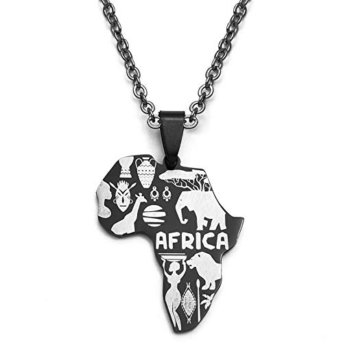 HJMKL Collar De Mapa,Elegante Diseño Brillante Letra De África Elefante León Animal Gráficos Abstractos Contorno Mapa Negro Colgante Collar Joyería Étnica Única para Viajes Patrióticos Unisex Conm