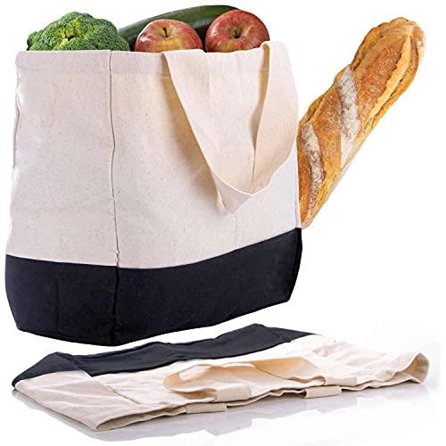 GOODS+GADGETS Shopper Baumwolltasche Einkaufstasche aus Baumwolle mit vielen Fächern; Leinen Tragetasche & Handtasche XXL mit 54 x 38 x 14 cm