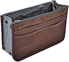 Vercord Purse Organizer Insert for Handbags Bag Organizers Inside Tote Pocketbook Women Nurse Nylon 13 Pockets Coffee Medium