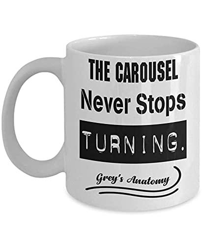 N\A Greys Anatomy El carrusel Nunca Deja de volverse Gris Yang Karev Meredith Ellis Taza de café Taza divertidaTé para el día del Padre de Navidad Xmas Da O3X1PS N0CN5U