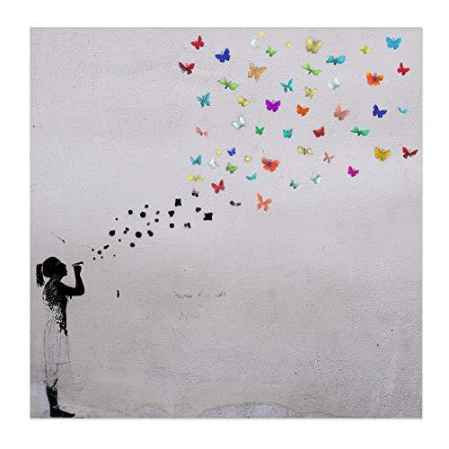 Bild auf Leinwand Banksy Graffiti Kunstdruck Street Art - Schmetterling Bubble (70x70 cm)