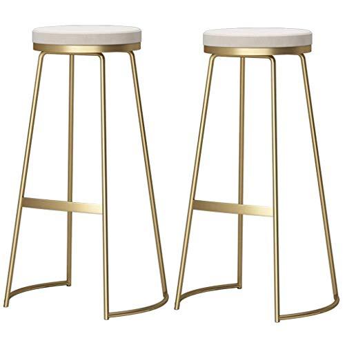 WWW-W-DENG barkruk open back barstoel met ontbijtstoel, voetensteun, zithoogte 29,5 inch, wit/grijs, velours, barkruk