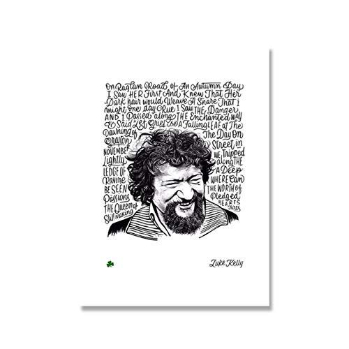 Carteles e impresiones de Luke Kelly en blanco y negro Raglan road letras arte lienzo pintura figura cuadro de pared para la decoración del hogar de la sala de estar