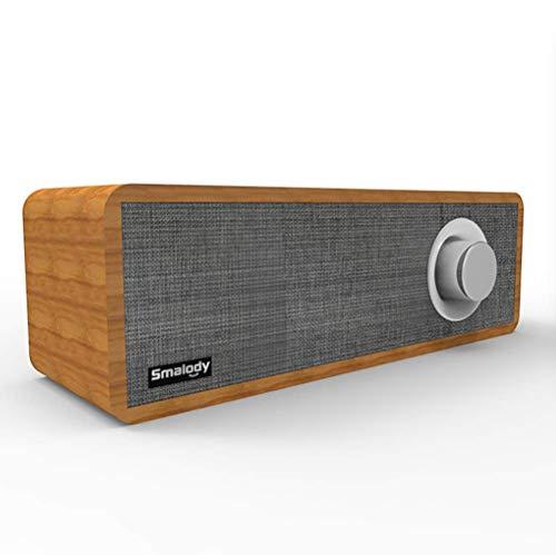Altavoz Bluetooth Retro,Altavoz inalámbrico Bluetooth 5.0,Altavoz de Tela, Barra de Sonido Moderna,Estilo Vintage de Madera,Altavoz portátil Recargable,para Todos los Dispositivos Bluetooth(Gris)