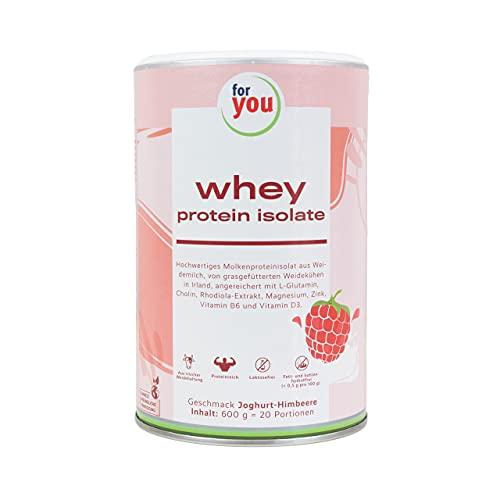 for you whey protein isolate Joghurt-Himbeere I 8 essentielle Aminosäuren für schnellere Aufnahme und Regeneration I 20 Portionen 600g Proteinpulver Muskelaufbau Whey I Protein Eiweißpulver
