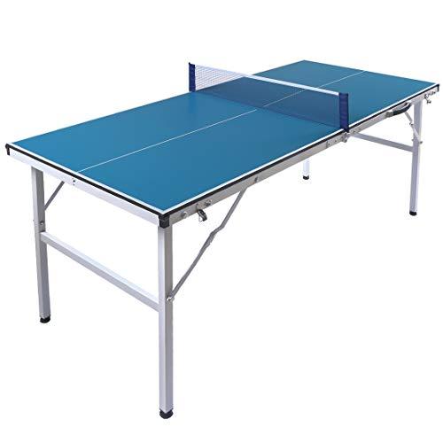 Top-A HLC 5FT Tischtennisplatte klappbar Professionelle Tischtennistisch Tischtennis Platte mit Netz Portable und transportabel Drinnen draußen 150 x66 x 69cm