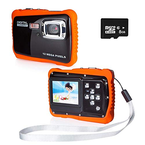 PROACC Fotocamera Impermeabile per Bambini, HD 720p 12MP Digitale Camera Kids Fotocamera Impermeabile videocamera con Zoom Digitale 8X / 12MP / 2' Schermo LCD TFT /8GB Micro SD (Rosso)