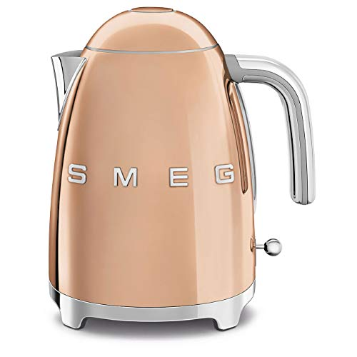 Smeg KLF03RGUS 50's Retro Style Aesthetic Electric Kettle with Embossed Logo, Rose Gold