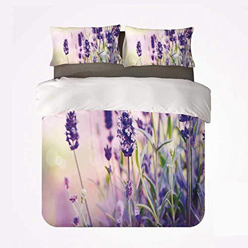 Miwaimao Bedding Bettwäsche-Set,Lavendel Traumhafter Frühlingstag mit frischen...