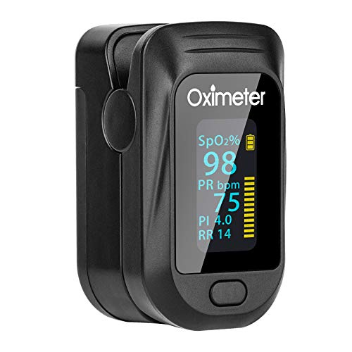 Tomorotec Fingertip Pulse Oximeter, Accurate Blood Oxygen Saturation Level (SpO2), Perfusion Index (PI), Pulse Rate (PR), Respiratory Rate (RR) Monitor with Batteries and Lanyard (Black)