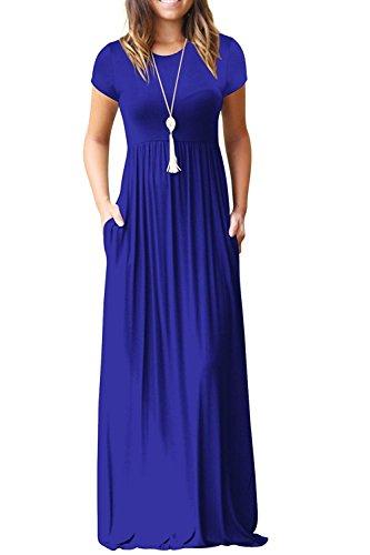 HIYIYEZI Women Short Sleeve Loose Plain Long Maxi Casual Dress with Pockets (M, 02 Royal Blue- Short Sleeves)