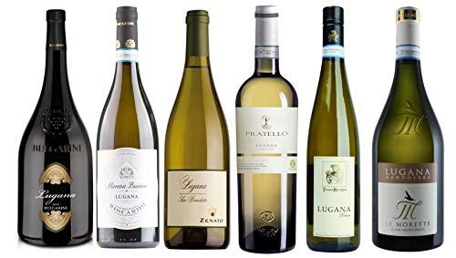 6 er Probierpaket Lugana | Weißwein aus Venetien | trocken | 6 x 0,75 L. | mit Weinausgießer Drop Stop