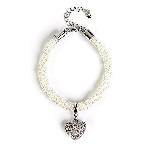 ALMBOCK Dirndl Armband Damen - Trachten Perlenarmband - Perlenarmband mit Herzanhänger - Armband Tracht - Trachtenarmband Damen silber