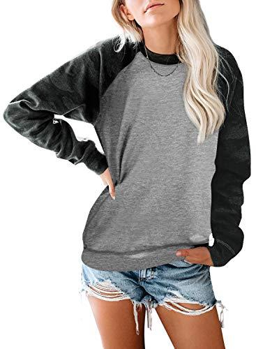 CANIKAT Women's Warm Winter Crewneck Color Block Camo Print Pullovers Casual Loose Long Sleeve Tops Sweatshirts Gray 2XL