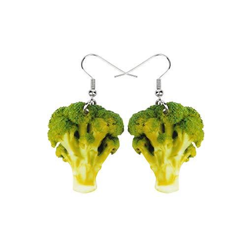Zielone brokuły warzywa jedzenie zabawa drukowane akrylowe wycinane kolczyki wiszące