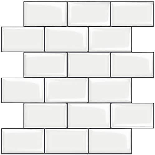 STICKGOO 10 Sheet White Subway Tiles Peel and Stick Backsplash Stick on Tiles Kitchen Backsplash product image