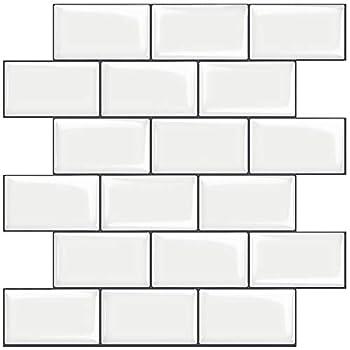 STICKGOO 10-Sheet White Subway Tiles Peel and Stick Backsplash Stick on Tiles Kitchen Backsplash  Thicker Design