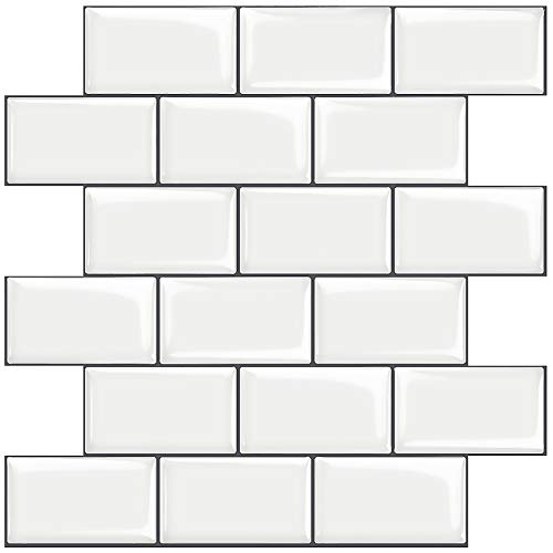 Stickgoo 10-Sheet White Subway Tiles Peel and Stick Backsplash