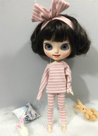 Pajamas Suit Stripe Tops Pants Cloth for Blythe Doll Azone Licca ICY 1/6 Bjd Doll Best Gift